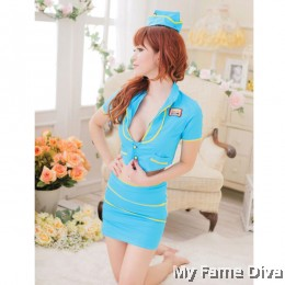 Air Stewardess Blue Costume