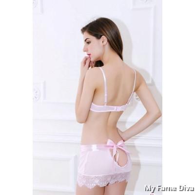 Pastel Lace Bralette Lacey Tie Skirt Set