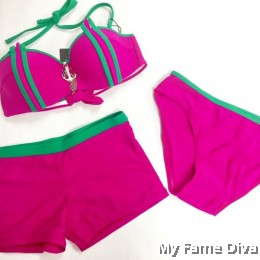 3pcs Strappy Underbust Bikini & Bottom Set with Jewel