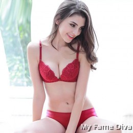 Lace Bustier Wireless Push-up Bra set - RED