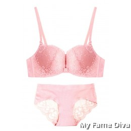 Lace Bustier Wireless Push-up Bra set - PINK