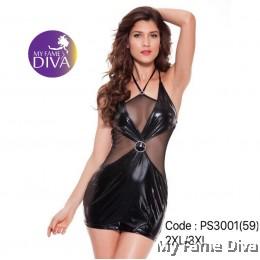 PLUS SIZE : Sexy Leather Clubwear Dress