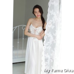 The Satin Collection : Ballerina-inspired Sheer n Sexy Long Dress (Dress only)
