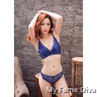 Lace Maple MultiStraps Bra set - BLUE