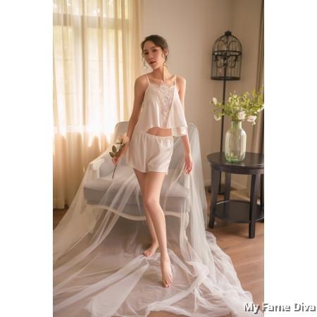 The Satin Collection : Chantilly-V Pajamas set