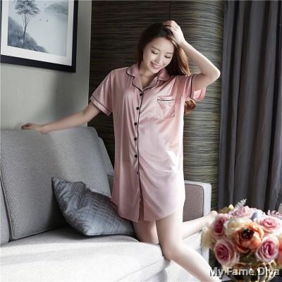 The Satin Pajamas Collection : Buttons-Up Satin Pajamas Dress