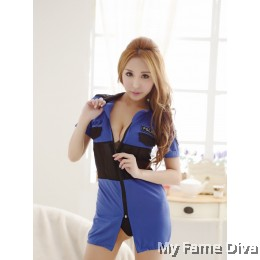 Sexy Policewoman Zip-up 1pc Costume