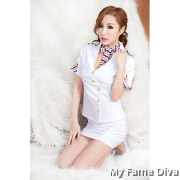 Air Stewardess in White Costume