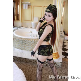 Sexy Soldier Crop Top & Hot Pants Set