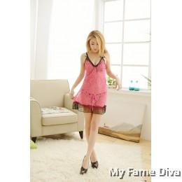 Sweetie Contrast in Pink Ribbon Babydoll