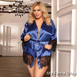 PLUS SIZE : Satin Robe in Sheer