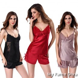 The Satin Pajamas Collection : DEMI Satin Lace Camisole PJ Set
