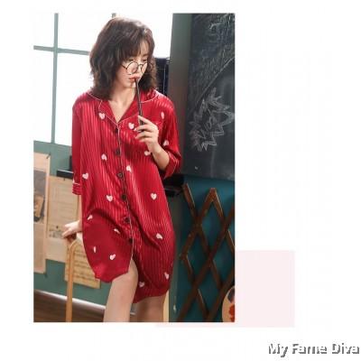 The Satin Pajamas Collection : Sweetheart Buttons-Up PJ Dress