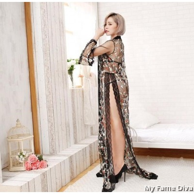 Spring of Love D'Fleur Layering Long Robe & Bikini Set