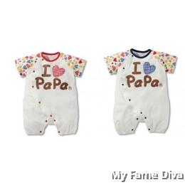 I Love Papa Colorful (Short Sleeve) Babysuit by CutiesDiva